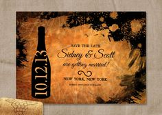 PRINTABLE Black and Gold Grunge Wine Save the Date Wedding Announcement 5X7 Digital File.