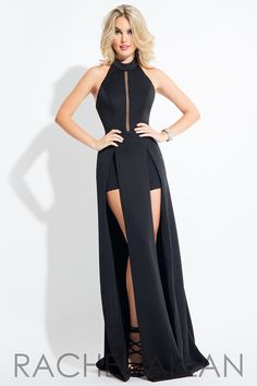 19bdf9c93698 Rachel Allan two piece jersey faux jumpsuit with shorts and draping halter