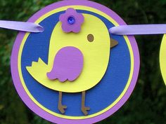 Lilac Purple and Yellow Chicadee Birthday Banner READY TO SHIP