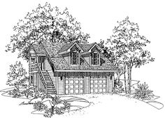 Eplans Garage Plan - The Studio - 972 Square Feet and 1 Bedroom from Eplans - House Plan Code HWEPL07643
