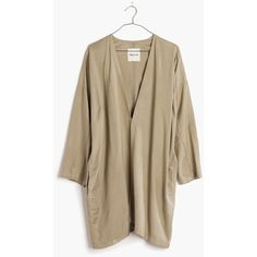 MADEWELL Drapey Open Jacket ($98) ❤ liked on Polyvore featuring outerwear, jackets, olive stone, madewell, summer kimono jacket, olive green jacket, kimono jacket and brown jacket