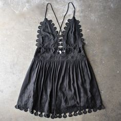 This embroidered mini dress has wavy cutouts and an open back for a flirty feel. Draped teardrops trim the hem. Runs big! Fit: Runs big, size down. Cute Dresses, Casual Dresses, Mini Dresses, Casual Outfits, Summer Outfits, Cute Outfits, Dress Summer, Summer Clothes, Looks Street Style