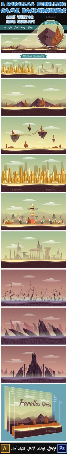 8 Game Backgrounds - Parallex Side Scrolling (Photoshop PSD, Transparent PNG, JPG Image, Vector EPS, AI Illustrator, CS, 2d, 2d game backgrounds, android, app background, asset, background, backgrounds, bg, flash background, flash bg, game, game art, game assets, game background, game design, game landscape, gaming, landscape, side scroll, side-scroll, sidescroll, sidescroller, sidescrolling, tile, Tile Set, tileable, tileset, ui, vector, video game)