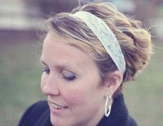 Lace headbands, set of five - ivory, light pink, lavender, light blue, peach