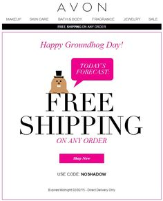 Avon Free Shipping on Any Order - February 2015 - Use Avon coupon code: NOSHADOW at http://eseagren.avonrepresentative.com. Expires: midnight EST February 2, 2015. #avon #coupon #freeshipping #groundhogday #groundhogday2015