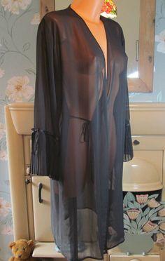 Vintage black sexy sheer soft peignoir nightgown robe UK 10-12 EURO 38-40 R13362