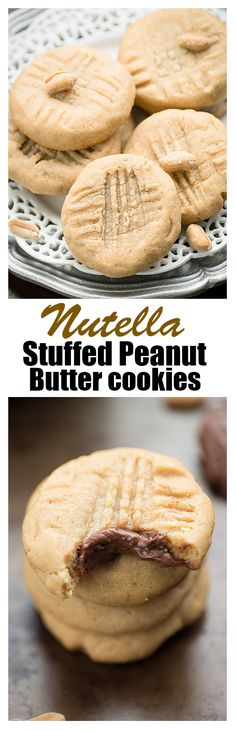 Nutella Stuffed Peanut Butter Cookies Make The Perfect easy treat for National Peanut Butter Cookie Day! The best part of all, there's a surprise Nutella filling inside! Nutella Recipes, Peanut Butter Recipes, Peanut Butter Cookies, Yummy Cookies, Cookie Recipes, Dessert Recipes, Just Desserts, Delicious Desserts, Yummy Food