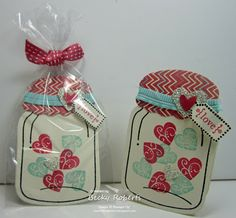 Valentine Jars ~ Cardstock:  Very Vanilla, More Amore Designer Series Paper, Silver Glimmer Paper Stamp Set:  Perfectly Preserved, Tiny Tags Accessories:  Pool Party Ribbon, Heart Punch, Jewelry Tag Punch, Owl Punch (for the little heart), Primrose Petals Ribbon