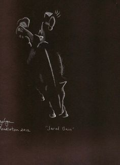 Jared Bain.   White pencil on black paper. Done from photo in the East Oregonian newspaper.