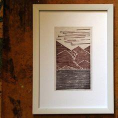 Original linocut print on fabric, Seascape Large Canvas Tote Bags, Linocut Prints, Hand Sewing, Printing On Fabric, Hand Carved, Carving, Stamp, The Originals, Handmade