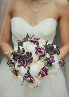 Beautiful & Very Posh Bride's Bouquet Which Showcases: White Peonies, White Roses, Purple Orchids, Lavender/Green Succulents, Fiddleheads (Fern Shoots) + Lamb's Ear~~