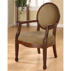 Complement your home decor with this traditional wood arm chair. This stunning oval-back chair features a comfortable upholstered seat with a sloped-arm design. The neutral colors and sleek design make this chair a great addition to any decor.