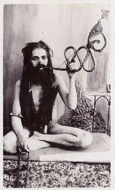 1930s India - Holy Man Smoking Pipe