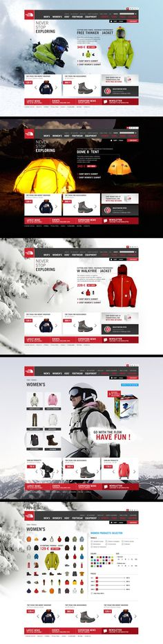 The North Face web page.  You can see how they integrate their theme on all pages. Great design.  #interesting. If you like UX, design, or design thinking, check out theuxblog.com