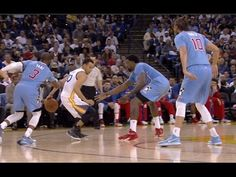 Stephen Curry through the legs behind the back for step back three in traffic: Clippers at Warriors - YouTube