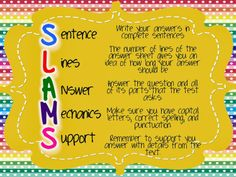 SLAMS - an open ended question writing strategy - freebie!