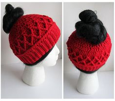Messy Bun Hat crochet pattern with Cable Diamond Stitch works up quickly for last minute gift giving. Messy Bun Hats are all the rage and are a wonderful addition to your holiday winter crochet. My pattern is user friendly for all crochet skill levels - from beginner to expert! Please note that some portions of the Diamond Cable stitch may prove challenging to beginners!  *** A 2nd version of this hat pattern that is slightly taller and with a looser fit is available here: https://w...