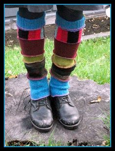 upcylced leg warmers sewn from various cut off sleeves of old sweaters; Upcycle, Recycle, Salvage, diy, thrift, flea, repurpose! For vintage ideas and goods shop at Estate ReSale & ReDesign, Bonita Springs, FL