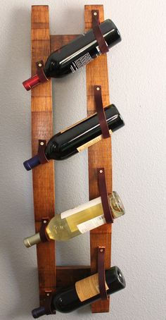 Wine Rack with reclaimed wood and recycled leather | Nesting in ...