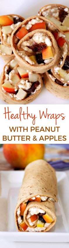 Healthy wraps with peanut butter, apple, cottage cheese and raisins are a great make-ahead lunch perfect for the lunchbox. Can be made gluten-free option.