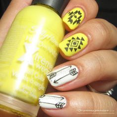 43 Lovable Yellow Nail Art Design To Inspire Your Summertime design # design Diy Yellow Nails, Love Nails, Pretty Nails, Tribal Paint, Nail Patterns, Pattern Nails, Painted Nail Art, Manicure Y Pedicure, Nail Stamping