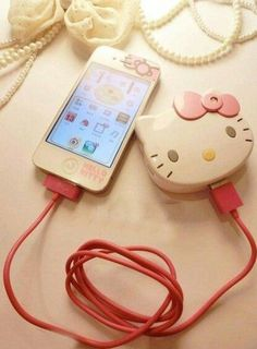 Hello Kitty Mobile Charger and I don't have an iPhone Hello Kitty Haus, Hello Kitty Items, Hello Kitty Stuff, Hello Kitty Products, Accessoires Iphone, Hello Kitty Collection, Sanrio Characters, Oui Oui, Here Kitty Kitty