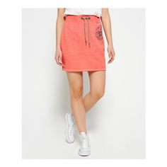 Superdry Tri League Sweat Skirt (£35) ❤ liked on Polyvore featuring activewear, activewear skirts, red, athletic sportswear, logo sportswear and superdry