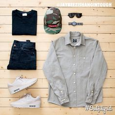 Mens Fashion Sneakers – The World of Mens Fashion Hype Clothing, Clothing Apparel, Dope Fashion, Fashion Outfits, Womens Fashion, Twill Shirt, Outfit Grid, Nike Outfits, Urban Outfits