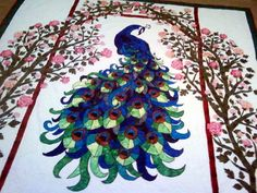 By Quilt Artist - James Hill Peacock Quilt, Peacock Crochet, Peacock Art, Applique Patterns, Applique Quilts, Cross Stitch Patterns, Quilt Patterns, Quilting Projects, Quilting Designs