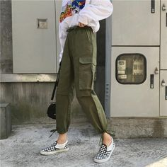 Pants Women 2019 Ankle-Length High Drawstring Waist Solid Pockets Womens Leisure Loose Korean Style Simple All-match Trendy Chic Source by women Cool Summer Outfits, Trendy Outfits, Mode Streetwear, Streetwear Fashion, Fashion Pants, Fashion Outfits, Fashion Sandals, Curvy Women Fashion, Womens Fashion