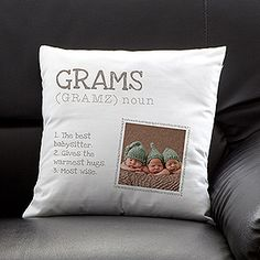 "What a cute gift idea for Grandma!!! I love this!! ""Definition of a Grandma"" personalize throw pillow ... you can make it any name you want and you can come up with your own ""definitions"" and photo - plus there are color options! #MothersDay #Grandma #giftidea"
