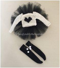BLYTHE Puppe Creme und schwarz Herz Pullover, schwarze Tutu und über die Pom Pom…