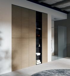 Rovere Corda and Rovere Ardesa finishes combine to create these full-height bathroom wall units. MAKE range from LASA Idea, Italy. Bathroom Wall Units, Closet Designs, Walk In Closet Design, Furniture, Bathroom Wall Cabinets, Bathroom Furniture, Home Decor, Bathroom Storage, Luxury Homes