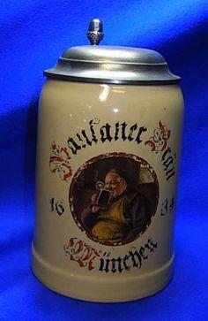 Vintage German Tin Top Lidded Paulaner Brew Munich Beer Stein #XX2