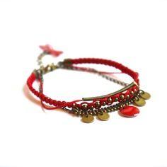 Bracelet sequin et chaîne bille bronze, macramé et sequin émaillé rouge -Bijoux ENORA-