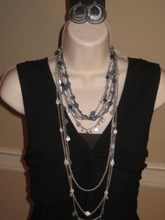 Premier Designs Around Town earrings, Harmony necklace (silver) & Denim necklace.  Harmony is 3 necklaces in one!  One of my best sellers!