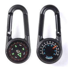 Multifunctional Hiking Carabiner Compass w/ Thermometer & Keychain