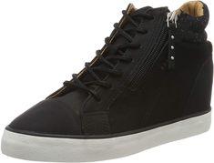 Color Negro Talla 36.5 Gorra de Acero para Zapatillas de Entrenamiento para Mujer con dise/ño de cord/ón