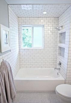 Picture Gallery For Website Small bathroom remodel subway tile floor tiles black and white Small Room Decorating Ideas