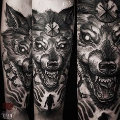 Fenrir, son of loki. Slayer of odin and devourer of the sun. Viking norse mythology half sleeve. Fenrir wolf god. Wolf tattoo