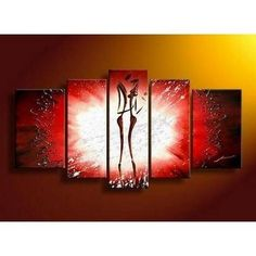 Canvas Art, 5 Panel Canvas Art, Abstract Art of Love, Canvas Painting, Wall Art, Lovers Painting