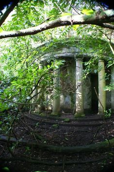 This folly is part of an elaborate terraced garden belonging to the Baron Hill Mansion in Angelsey, Wales. Originally built in 1618, the mansion and gardens have been abandoned since World War II.