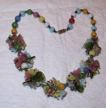 Vintage Venetian Italian Poured Glass Flower Chunky Clusters Necklace