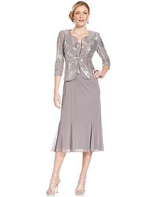 Alex Evenings Sleeveless Sequin Midi Dress and Jacket - Dresses - Women - Macy's