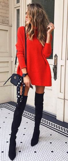 women's red long-sleeved mini dress and black leather thigh-high boots outfit