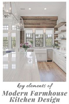 What makes a beautiful modern farmhouse kitchen? Here we feature some of the most prevalent, and important, key elements of modern farmhouse kitchen design that we are seeing in some of the most stunning kitchens today interior design kitchen Interior Design Minimalist, Modern Kitchen Design, Interior Design Kitchen, Home Design, Design Ideas, Interior Trim, Modern Minimalist, Minimalist Window, Beautiful Kitchen Designs