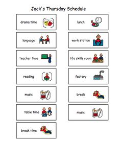 visual schedule for autistic children | Example Daily School ...