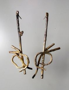 ROXY LENTZ-USA Earrings: Untitled 2013 Found copper wire, silver melted over