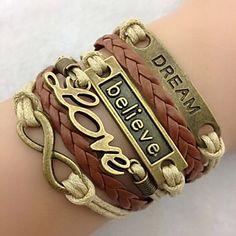 EUR € 1.48 - Classic Bronze LOVE Leather Wrap Bracelet(1 Pc), Frete Grátis em Todos os Gadgets!