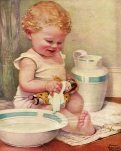vintage illustration baby bathing doll with pitcher and basin